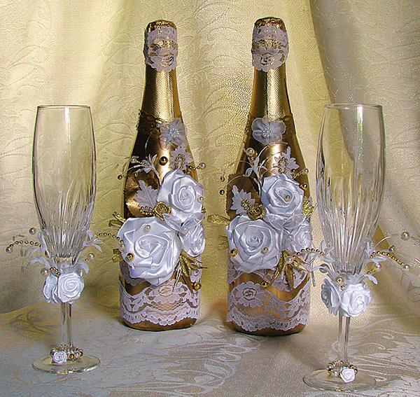 Бокал для шампанского на свадьбу своими руками