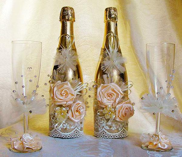 Декор бутылки и бокалов на свадьбу своими руками